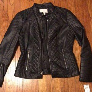 NWT Bar III Leather Moro Jacket Black Medium NEW